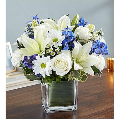 healing-tears-blue-and-white-flower-arrangement-funeral-gifts